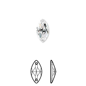sew-on component, swarovski crystals, crystal passions, crystal clear, foil back, 12x6mm navette with 2 holes flat back (3223). sold per pkg of 2.