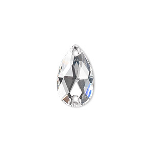 sew-on component, swarovski crystals, crystal passions, crystal clear, foil back, 18x10.5mm faceted pear flat back with 2 holes (3230). sold per pkg of 12.