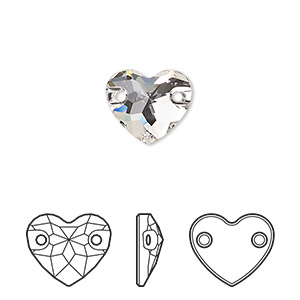 sew-on component, swarovski crystals, crystal passions, crystal clear, foil back, 12mm faceted heart with 2 holes (3259). sold per pkg of 2.