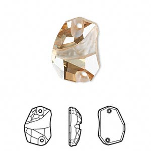 sew-on component, swarovski crystals, crystal passions, crystal golden shadow, foil back, 19x13mm faceted divine rock flat back with 2 holes (3257). sold per pkg of 6.