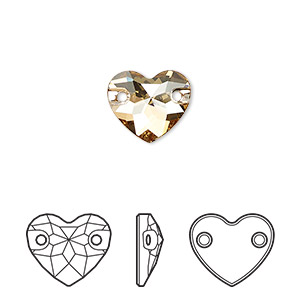 sew-on component, swarovski crystals, crystal passions, crystal golden shadow, foil back, 12mm faceted heart with 2 holes (3259). sold per pkg of 12.