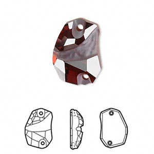 sew-on component, swarovski crystals, crystal passions, crystal red magma, foil back, 19x13mm faceted divine rock flat back with 2 holes (3257). sold per pkg of 6.