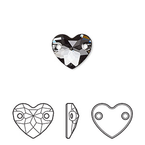 sew-on component, swarovski crystals, crystal passions, crystal silver night, foil back, 12mm faceted heart with 2 holes (3259). sold per pkg of 2.