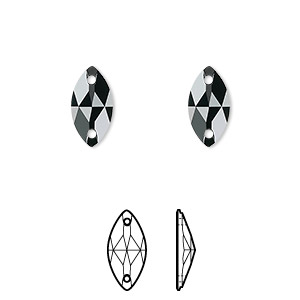 sew-on component, swarovski crystals, crystal passions, jet, foil back, 12x6mm faceted navette flat back with 2 holes (3223). sold per pkg of 2.