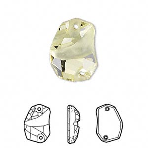 sew-on component, swarovski crystals, crystal passions, jonquil, foil back, 19x13mm faceted divine rock flat back with 2 holes (3257). sold per pkg of 6.