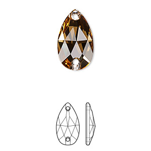 sew-on component, swarovski crystals, crystal passions, light colorado topaz, foil back, 18x10.5mm faceted pear flat back with 2 holes (3230). sold per pkg of 12.
