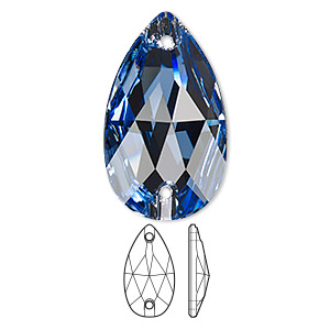sew-on component, swarovski crystals, crystal passions, light sapphire, foil back, 28x17mm faceted pear flat back with 2 holes (3230). sold individually.