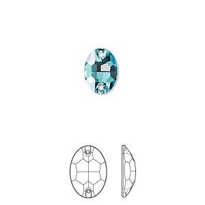 sew-on component, swarovski crystals, crystal passions, light turquoise, foil back, 10x7mm faceted oval flat back with 2 holes (3210). sold per pkg of 12.