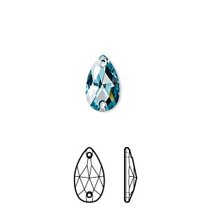 sew-on component, swarovski crystals, crystal passions, light turquoise, foil back, 12x7mm faceted pear flat back with 2 holes (3230). sold per pkg of 2.