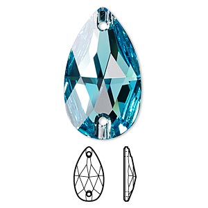 sew-on component, swarovski crystals, crystal passions, light turquoise, foil back, 28x17mm faceted pear flat back with 2 holes (3230). sold per pkg of 6.