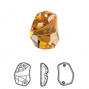 sew-on component, swarovski crystals, crystal passions, topaz, foil back, 19x13mm faceted divine rock flat back with 2 holes (3257). sold per pkg of 6.