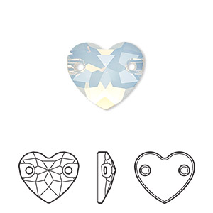 sew-on component, swarovski crystals, crystal passions, white opal, foil back, 16mm faceted heart with 2 holes (3259). sold per pkg of 6.