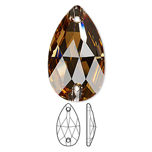 sew-on component, swarovski crystals, light colorado topaz, foil back, 28x17mm faceted pear flat back with 2 holes (3230). sold per pkg of 24.