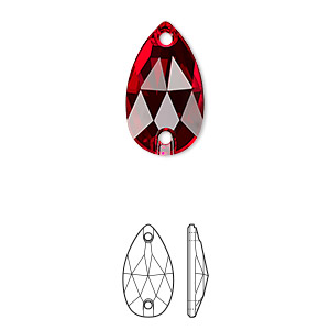 sew-on component, swarovski crystals, light siam, foil back, 18x10.5mm faceted pear flat back with 2 holes (3230). sold per pkg of 72.