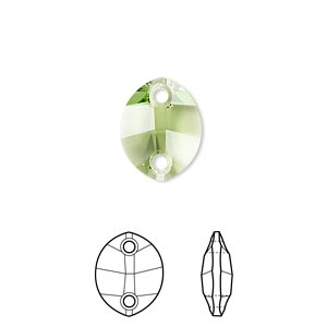 sew-on component, swarovski crystals, peridot, 14x11mm faceted pure leaf with two holes (3224). sold per pkg of 108.