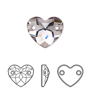 sew-on component, swarovski crystals, smoky mauve, foil back, 16mm faceted heart with 2 holes (3259). sold per pkg of 30.