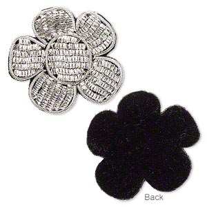 sew-on component, velveteen and silver-finished copper french wire, black, 1-1/2 x 1-1/2 inch flower. sold per pkg of 2.