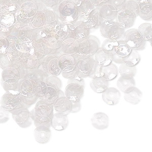 sew-on sequin, plastic, transparent clear ab, 5mm round. sold per 5-gram pkg, approximately 1,000 sequins.