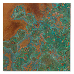 sheet, lillypilly, copper, verde patina, 3-inch single-sided square, 36 gauge. sold individually.