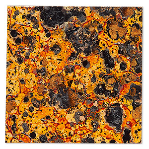 sheet, lillypilly, lacquered copper, molten sun patina, 3-inch single-sided square, 24 gauge. sold individually.