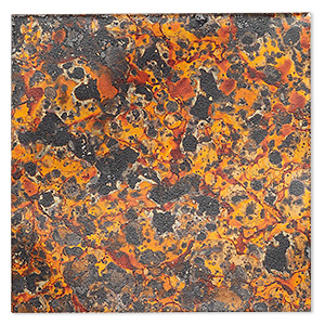 sheet, lillypilly, lacquered copper, molten sun patina, 3-inch single-sided square, 36 gauge. sold individually.