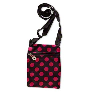 shoulder wallet, polyester and steel, black and hot pink, 7x5-1/2 inch rectangle with polka dot design. sold individually.