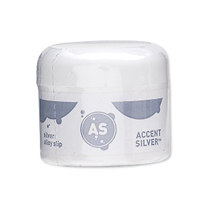 silver paint, accent silver™, silver alloy slip, 1 inch. sold per 5-gram container.