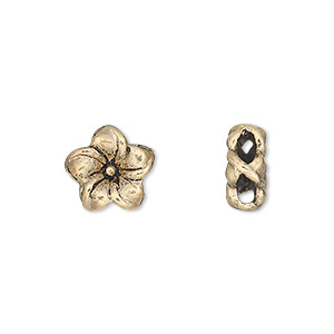 slide, antique gold-finished pewter (zinc-based alloy), 11x11mm double-sided flower. sold per pkg of 10.