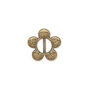 slide, antiqued brass-finished pewter (zinc-based alloy), 16x16mm single-sided flower, 7x2.5mm hole. sold per pkg of 20.