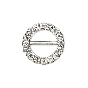 slide, antiqued silver-finished pewter (zinc-based alloy) and czech glass rhinestone, clear, 21mm single-sided round, bar on back. sold individually.
