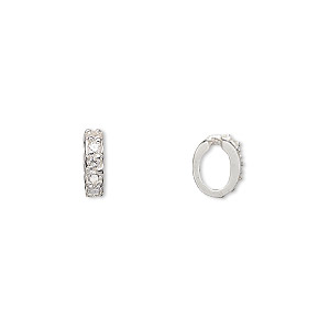 slide, cubic zirconia and sterling silver, clear, 9x2.5mm oval. sold per pkg of 2.
