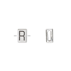 slide, sterling silver, 8.5x5.5mm double-sided alphabet block letter r with 6x2mm hole. sold individually.