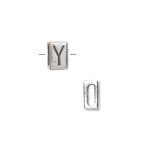 slide, sterling silver, 8.5x5.5mm double-sided alphabet block letter y with 6x2mm hole. sold individually.