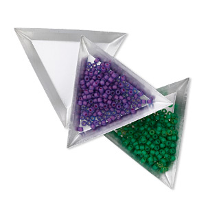 sorting tray, aluminum, 3-1/4 x 3-1/4 x 3-1/4 inch triangle. sold per pkg of 12.