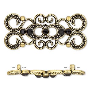 spacer, antique gold-finished pewter (zinc-based alloy) and czech glass rhinestone, black, 39x16mm 2-strand fancy rectangle. sold per pkg of 4.