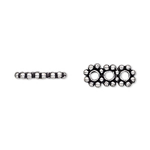 spacer, antique silver-plated copper, 15x6mm 3-strand beaded triple round, fits up to 4mm bead. sold per pkg of 12.