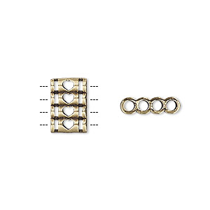 spacer, antiqued brass, 12.5x8.5mm double-sided 4-strand quadruple round tube with heart cutout design, fits up to 2mm bead. sold individually.
