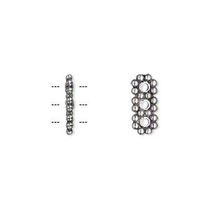 spacer bar, antique silver-plated pewter (zinc-based alloy), 13x5mm 3-strand double-sided rectangle, fits up to 4mm bead. sold per pkg of 100.