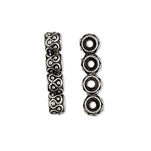 spacer bar, antiqued pewter (tin-based alloy), 24x5mm 4-strand fancy rondelle with wavy design, fits up to 5.5mm bead. sold per pkg of 2.