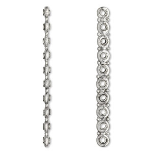spacer bar, antiqued pewter (tin-based alloy), 58x3mm 10-strand rondelle, fits up to 5.5mm bead. sold per pkg of 2.
