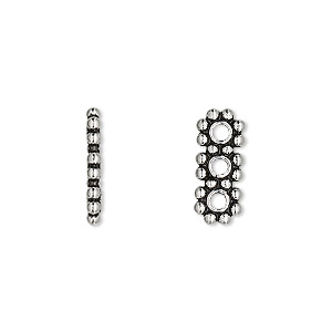 spacer bar, antiqued sterling silver, 15x6mm 3-strand beaded rectangle, 5mm between holes. sold per pkg of 2.