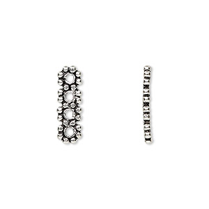 spacer bar, antiqued sterling silver, 16x5mm 4-strand beaded rectangle. sold per pkg of 2.