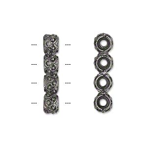 spacer bar, gunmetal-plated pewter (tin-based alloy), 24x6mm 4-strand rondelle with wavy design. sold per pkg of 2.