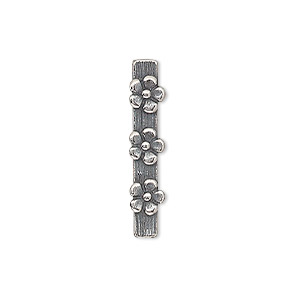 spacer bar, jbb findings, antique silver-plated pewter (tin-based alloy), 26x5mm 5-strand single-sided with flower design, fits up to 4mm bead. sold individually.