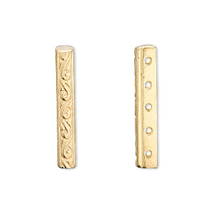 spacer bar, jbb findings, vermeil, 26x3.5mm 5-strand filigree rectangle, 5mm hole to hole. sold individually.