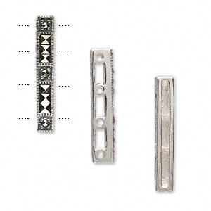 spacer bar, sterling silver and marcasite, 24x5mm 4-strand rectangle. sold individually.