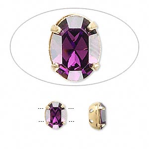 spacer bar, swarovski crystals and gold-plated brass, amethyst, 8x6mm 2-strand single-stone faceted oval, 3mm between holes. sold per pkg of 4.