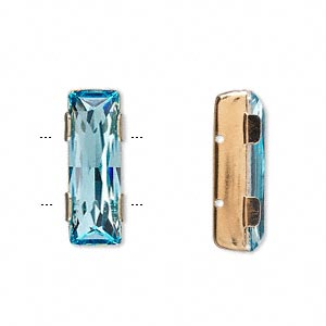 spacer bar, swarovski crystals and gold-plated brass, aquamarine, 21x8mm 2-strand single-stone faceted rectangle, 8mm between holes. sold per pkg of 144 (1 gross).