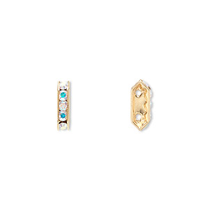 spacer bar, swarovski crystals and gold-plated brass, crystal ab with silver-foil back, 10.5x2.5mm 2-strand multi-stone rectangle with 4mm between holes, five size pp16 chatons. sold per pkg of 144 (1 gross).