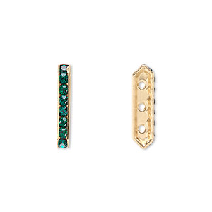spacer bar, swarovski crystals and gold-plated brass, emerald with silver-foil back, 17.5x2.5mm 3-strand multi-stone rectangle with 4mm between holes, eight size pp16 chatons. sold per pkg of 4.